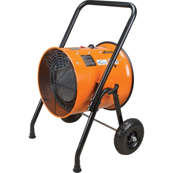 "EA786 Portable Salamander Heater Adjustable Thermostat/Tilt Angle 10"" Wheels Contractor Electric 34121 BTU/H 240V 10080 W Orange with Black Cart MATRIX"