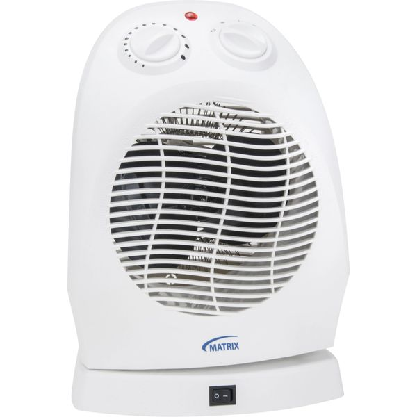 EA597 Portable Fan-Forced Convection Heater Oscillating 2-Heat Settings: 1500W / 750W Electric Min BTU 2560 / Max 5200 Min. Amp 6.25A / Max. 12.5 A MATRIX
