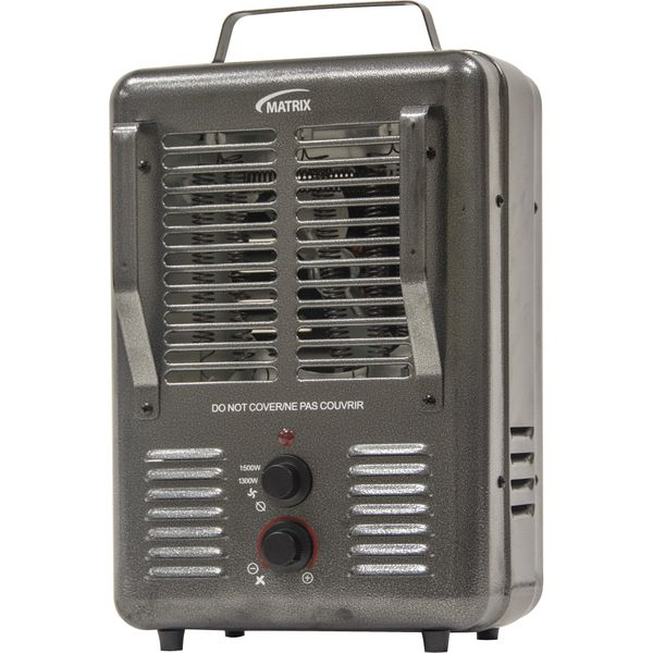 EA598 Portable Fan-Forced Electric Utility Heater 2-Heat Settings: 1300W / 1500W Tip-Over-Safety Carry Handle Amp Min 10.8 / Max. 12.5 MATRIX