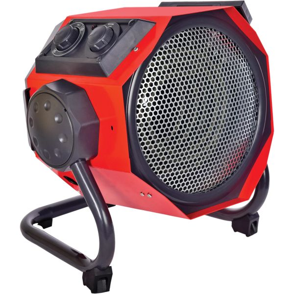 EB021 Heavy-Duty Tilted Heater Ceramic Electric 1-Speed Fan Max BTU 19107 240V 5600W Amps 23.3 6' CORD Max. Temp 100°F MATRIX