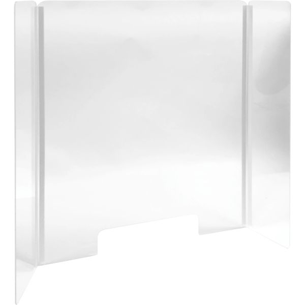 "SGU583 Countertop Safety Shield 31-3/4""H x 24-3/8""W Durable, Clear Acrylic for Distancing Hinged Sides"