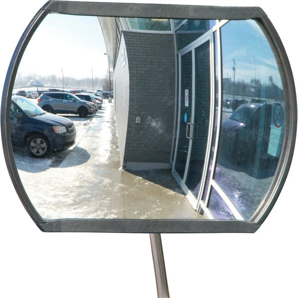"SDP528 Roundtangular Convex Surveillance Mirror with Telescopic Arm Durable Acrylic (12""H/18""H/20""H/24""H) Indoor/Outdoor PLASTIC BACK ZENITH Distancing"