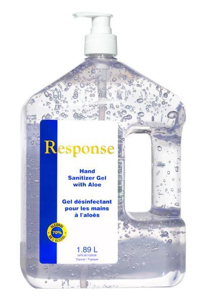 88-07 Response Hand Sanitizer GEL 70% Alcohol Includes: 1.89L x 4/CS PUMP BOTTLE GRIME EATER JC681