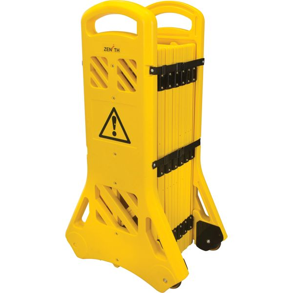 "SGO660 Portable Mobile Barriers Plastic Yellow Expanded Length 13' x Height 40"" Tilts & Rolls 4-Locking Straps ZENITH"