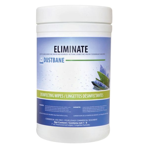 "JH413 Eliminate Virucide & Disinfectant Wipes 7""L x 8""W 180/Canister #53377 DUSTBANE"