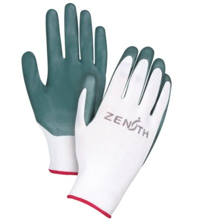 SAO157 NITRILE COATED PALM, NYLON KNIT BACK BREATHABILITY Superior Abrasion, Cut & Puncture Resistance Lightweight Sz's (7-11) ZENITH