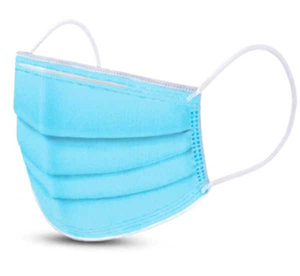 SAP391 Masks, Disposable: Ear-Loop FREE OF: Latex, Fibreglass Materials For Sensitive Skin Pleated Fluid Repeller #ASTM 2100 Non-Medical 50/Box BLUE