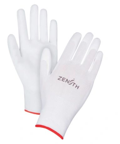 SAO161 Lightweight Polyurethane Palm Coated Gloves 13GAUGE Knit Wrist Dry Grip (XS-2XL) ZENITH COLOR: WHITE
