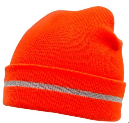 SGI135 TOQUES High Visibility Orange KNITTED W/SILVER STRIPE ZENITH SAFETY