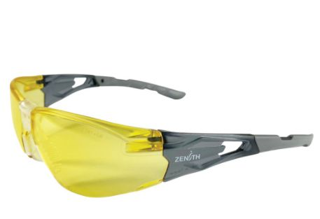 SGQ759 Safety Glasses, Amber Lens, Anti-Scratch Coating Soft Snap-on, Non-slip Nosepiece Z2900 SERIES ZENITH SAFETY 4/PKG
