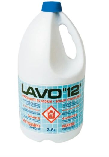 JO161 (JB981) Lavo 12% CONCENTRATED Liquid Bleach disinfectant/Sanitzer (3.6L/BTL x 6/CS) #010253