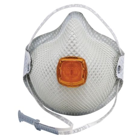 SJ905 N95 Particulate Respirators added Carbon Layer DURA-MESH VENTEX Heat/Flame Resistance NIOSH Style: Cup Exhalation WITH-VALVE MOLDEX Series #2800 10/BOX (MED/LAR)