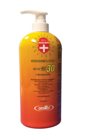 JD322 SUNSCREEN SPF30 FIRST AID 34oz against UVA/UVB rays Water/Sweat resistant Paba-free 1Litre Bottle Lotion