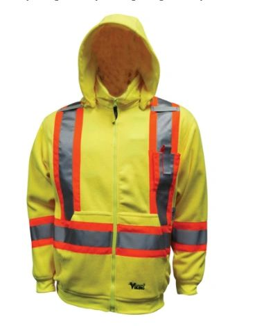 """SDP424 Safety Fleece Hoodie Sweater.Hi-Vis LIME 2"""" Vi-Brance® reflective tape in 4"""" WCB Thermal protective layer VIKING ALLIANCE PLASTICS #6420JG"""