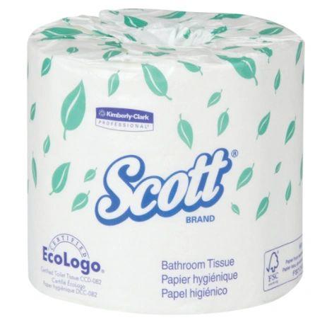 JA868 Bathroom Toilet Tissue 2Ply 550 Sheet/Roll Standard Roll 183' White Eco Logo Certified Wrapped Scott Kimberly Klark #453 40/CASE