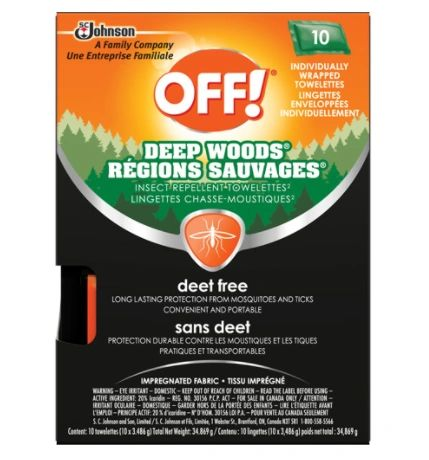 JL955 Insect Repellent Deep Woods® OFF! DEET-Free Towelette, 34gr SC JOHNSON 10/PACK