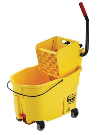 JK641 Mop Bucket & Wringer Combo Pack WaveBrake® Side Press, 44 Quart Yellow RUBBERMAID #FG618688YEL