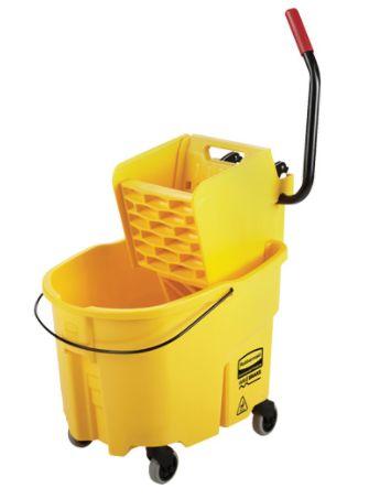JK634 Mop Bucket & Wringer Combo Pack, WaveBrake® Side Press 35 Quart Yellow RUBBERMAID #FG758088YEL