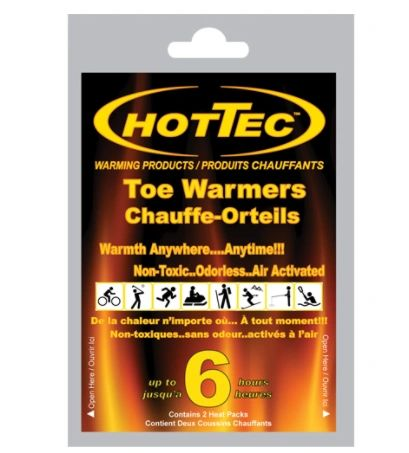"""SDN881 HOTTEC TOE Warmers Dimensions: 2-3/4"""" x 3-3/4"""" Cold/Hot: Hot Reusable: Single Use 6 HOURS"""