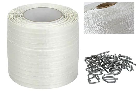 """PB028 Strapping, Polyester, WOVEN 1/2"""" Width X 750' X 600LB Self-Dispensing Coil 100 WIRE BUCKLES #40W-HP CORDEX WHITE"""