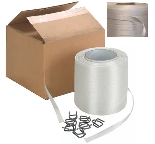 """PB027 Strapping, Polyester, BONDED 1/2"""" Width X 750' X 600LB Self-Dispensing Coil 100 WIRE BUCKLES #40B-HP CORDEX WHITE"""