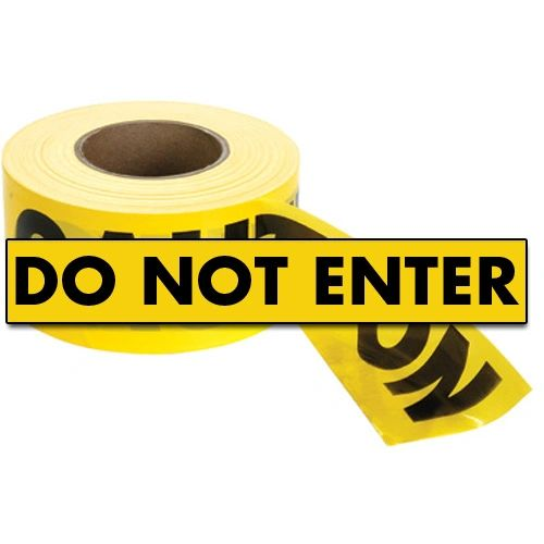 """SED021 Barricade Tape """"Do Not Enter"""" ENGLISH 3"""" x 1000' BLACK ON YELLOW Distancing"""