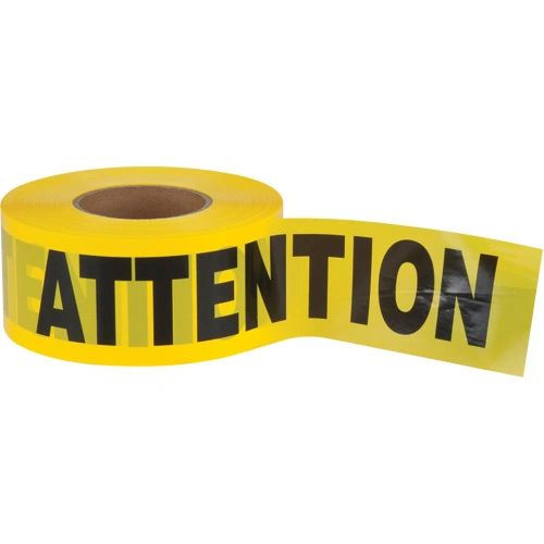 "SEK398 Barricade Tape ""ATTENTION"" ENGLISH 3"" x 1000' BLACK ON YELLOW Distancing"