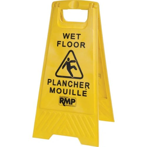 "JD391 FLOOR SIGN, Bilingual Safety Bright Yellow 12""Wx24""H"
