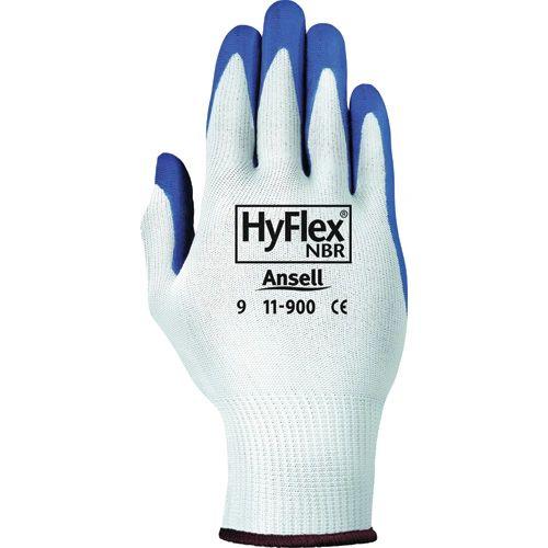 SAW979 Hyflex® NITRILE PALM, KNIT BACK NYLON - Oil & Abrasion Resistant #11-900 Gloves, (Sz's 6-10) ANSELL