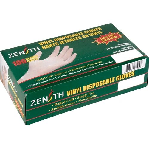 "**USE SAP333*** SAP328 VINYL, POWDERED Examination Grade FDA 9.5""L X 4Mil 100/BX (Sz's XSmall-XLarge) ZENITH"
