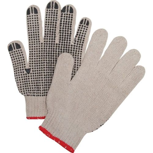 SEE938 PVC, DOTTED - SINGLE SIDE NATURAL POLY/COTTON FDA GLOVES (XS-XL) ZENITH