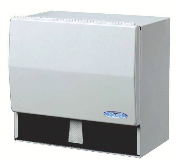 NA924 DISPENSER, TOWEL (for Roll or Single-Fold) WHITE W/LOCK FROST