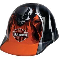 **NO LONGER AVAILABLE** SAS386 HARLEY DAVIDSON HARD HAT #HDHHAT30FM Orange Metallic Flames, Blades & Skull