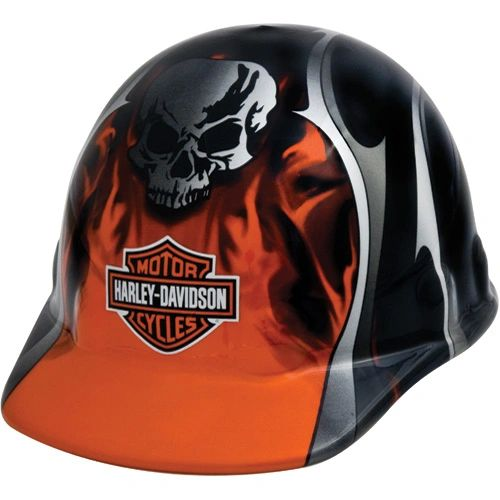 **NO LONGER AVAILABLE** SAS386 HARLEY DAVIDSON HARD HAT #HDHHAT30FM Orange Metallic Flames, Blades & Skull
