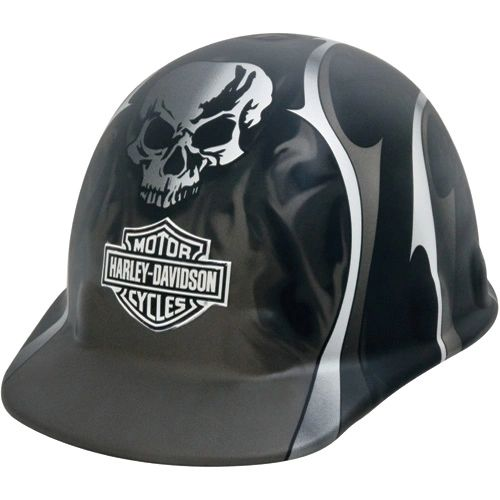 **NO LONGER AVAILABLE** SAS387 HARLEY DAVIDSON HARD HAT #HDHHAT35FM Black Matte w/Silver Metallic Flames, Blades and Skull