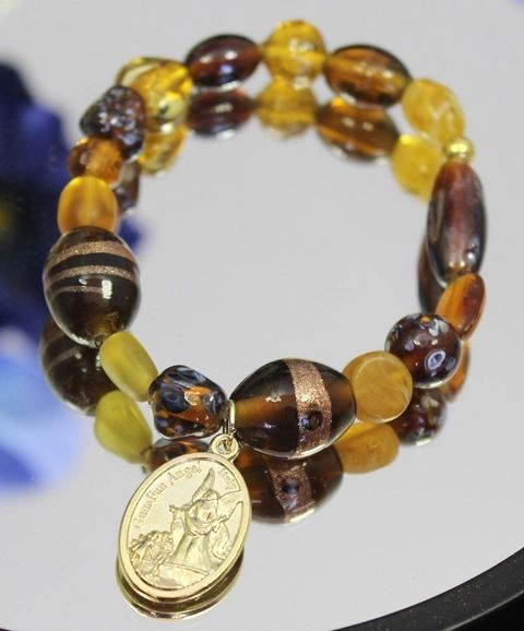 Amber and Brown Guardian Angel Stretch Bracelet