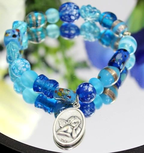 Light Blue Guardian Angel Stretch Bracelet