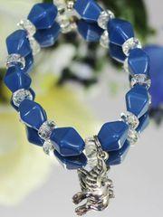 Blue Bead Dove Stretch Bracelet