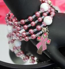 Faith & Hope Pink Ribbon Rosary Bracelet