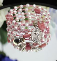 Pink and Pearl Rosary Bracelet