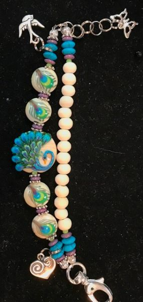Peacock Bracelet featuring Grace Lampwork Beads