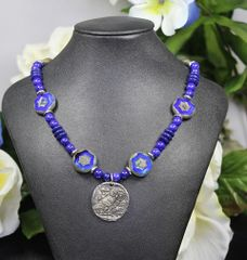 Owl Necklace with Czech Table-Cut Beads