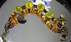Czech Table-Cut Glass Beads featuring Dragonfly Design.