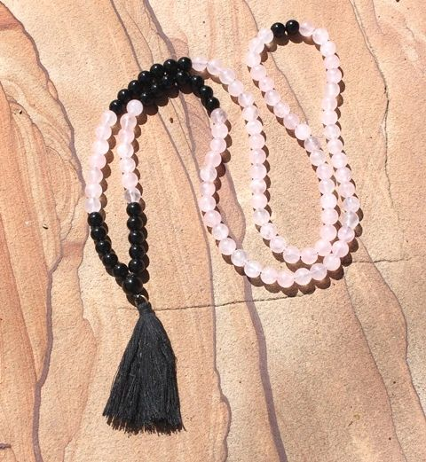 Mala. Rose Quartz and Obsidian