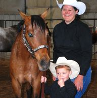 Young leadline rider and his mom.