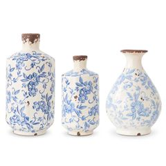 Large Blue & White Ceramic Jug [Grad. Sizes]