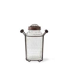 6.75 Inch Metal Mesh Handled Holder w/ Lidded Mason Jar