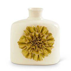 8 Inch White Ceramic Vase w/ Green Carnation