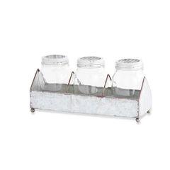 12 Inch Metal Tin Holder w/ 3 Lidded Jars