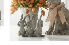 Resin Distressed Gray Hear No, Speak No, See No Bunnies